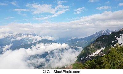 montagnes, printemps, khutor, rosa, caucasien, tôt, recours, russie