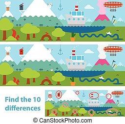 montagnes, puzzle, gosses, lac, différence
