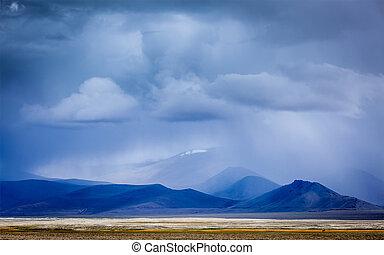 montagnes, rassemblement, himalaya, orage