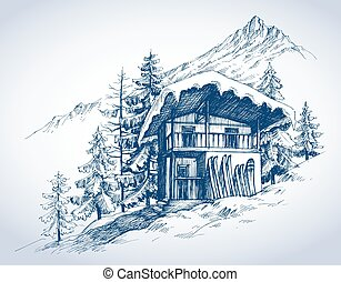 montagnes, recours, hutte, ski