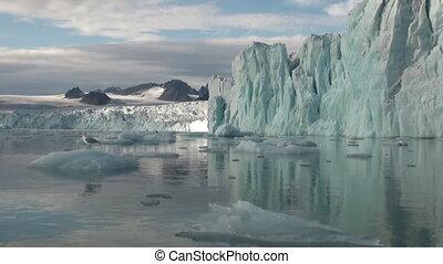 montagnes, refléter, water., grand, mer, icebergs