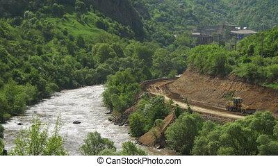 montagnes, rivière, paysages, armenia., montagne