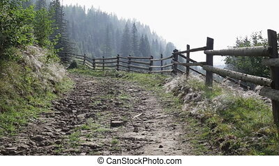 montagnes, route, panorama