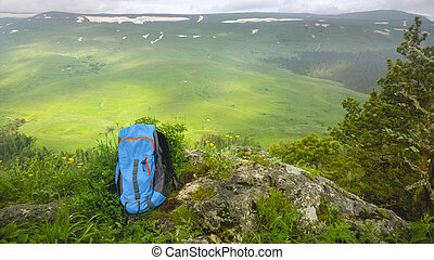 montagnes, sac à dos, jour, vues, ensoleillé