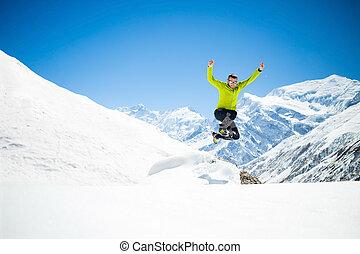 montagnes, sauter, hiver, homme, heureux