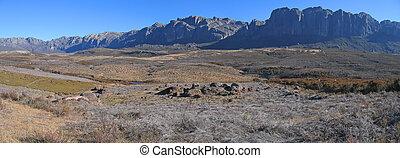 montagnes, savane, panoramique, parc, fond, andringitra, vallée, madagascar