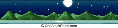 montagnes, scène, fond, nuit