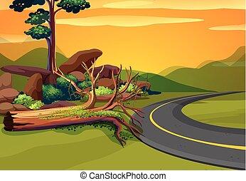 montagnes, scène, route