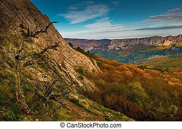 montagnes, scénique, ensoleillé, jour automne, paysage