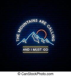 montagnes, signe., néon