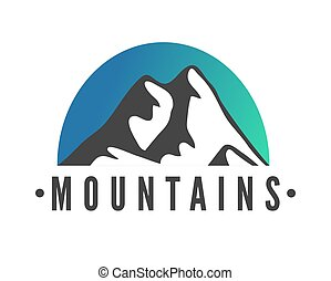 montagnes, silhouette, montagne, ski, main, recours, vecteur, icône, dessiné, élément, logo.