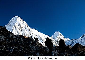 montagnes, silhouette, randonnée, gens