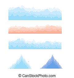 montagnes, silhouettes