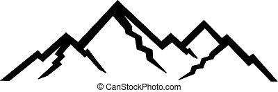 montagnes, silhouettes, pic