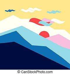 montagnes, silhouettes, vecteur, coloré, soleil