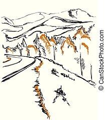 montagnes, sketch., colline, fond, sentier, forêt