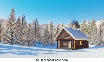 montagnes, snowbound, hiver, jour, cabine, bûche
