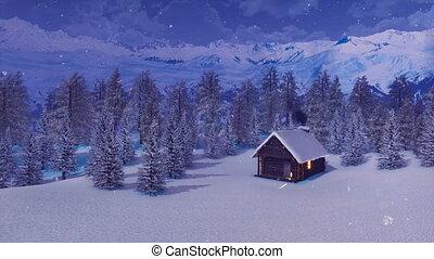 montagnes, snowbound, hiver, neigeux, maison, nuit
