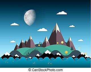 montagnes, soir, island., collines, ciel, lune, vecteur, mer, paysage, illustration.