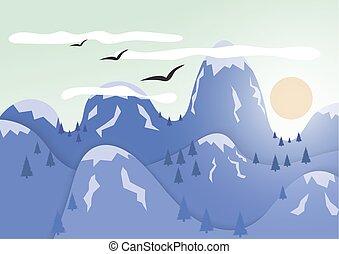montagnes, soleil, cap., glace, derrière, peaux, montagnes.
