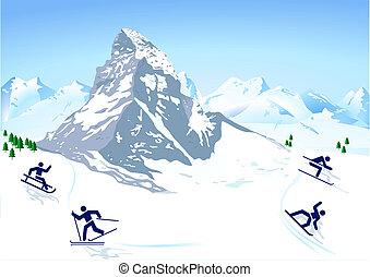 montagnes, sports hiver