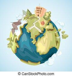 montagnes, style, éléments, bâtiments, arbres, illustration, planète, vecteur, la terre, dessin animé, nature