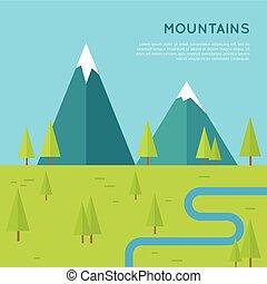 montagnes, style, concept, plat, vecteur, design.