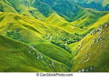 montagnes, sud, fond, africaine