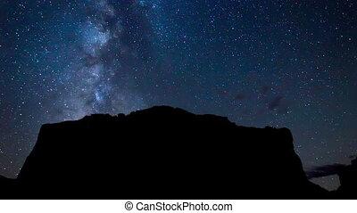 montagnes, sur, galaxie, manière, laiteux