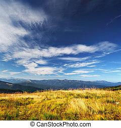 montagnes, sur, gras, nuages, jaune
