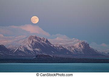 montagnes, sur, lever lune