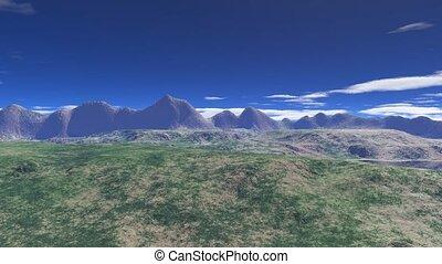montagnes, sur, vol, la terre