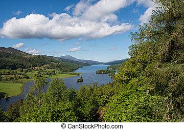 montagnes, sur, vue, loch, écossais