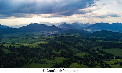 montagnes, tatra, matin, slovaquie, vue, aérien