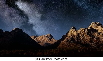 montagnes, timelaps, manière, laiteux