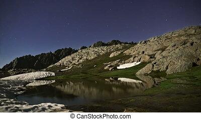 montagnes, timelapse, lac, entre