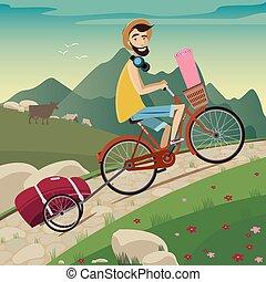 montagnes, tour, cyclisme, randonneur