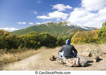 montagnes, touriste, homme