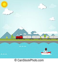 montagnes, train, fond