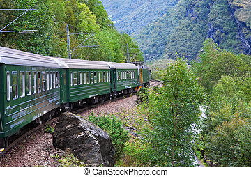 montagnes, train, travers, scandinave