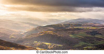 montagnes, -, tummel, central, vrackie, rannoch, loch, ben, ...
