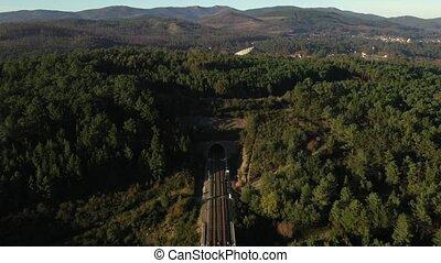 montagnes, tunnel, dépassement, vue, pont ferroviaire, aérien, par