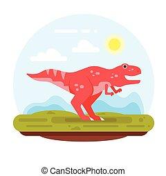 montagnes, tyrannosaur., préhistorique, paysage