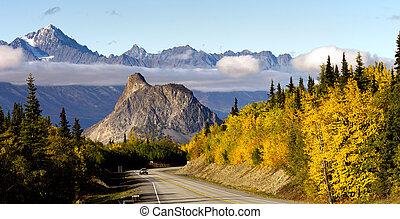 montagnes, uni, alaska, matanuska, etats, rivière, chugach, vallée, autoroute