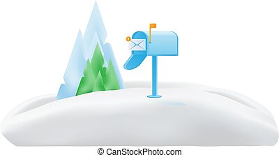 montagnes, usa, neige, arbres, boîte lettres, envelopegreen