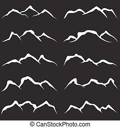 montagnes, vecteur, ensemble