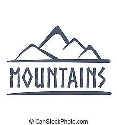 montagnes, vecteur, logo, illustration