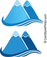 montagnes, vecteur, logo