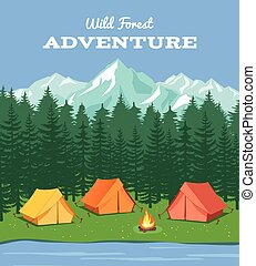 montagnes, vecteur, rivière, camp, camping., extérieur, ...