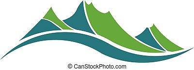 montagnes, vert, logo